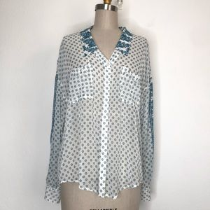 Free people oversize L button down Sz L